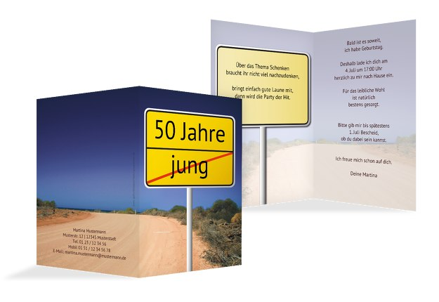 Karte zum Geburtstag Straßenschild 50
