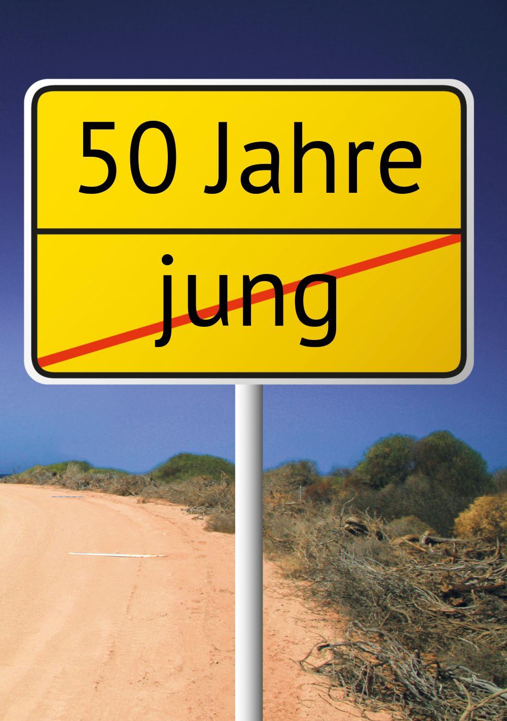Ansicht 3 - Karte zum Geburtstag Straßenschild 50