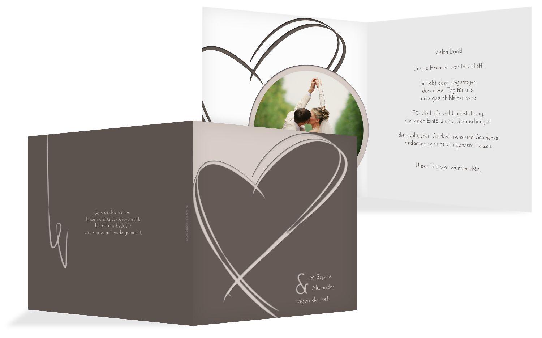 Hochzeit Dankeskarte Doppelherz