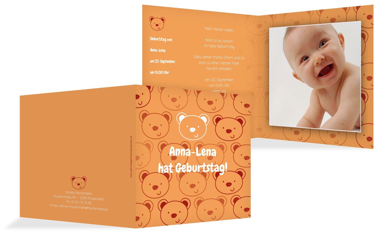 Geburtstagskarte Bärchengesicht Foto