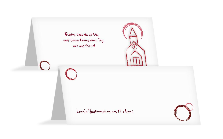 Tischkarte zur Konfirmation Kirche