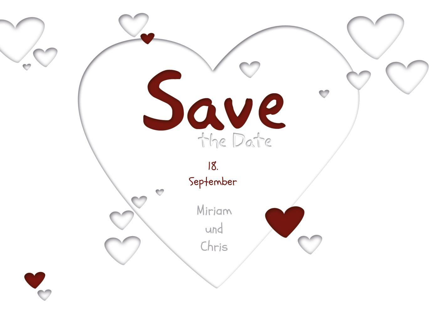 Ansicht 2 - Save-the-Date Herzform