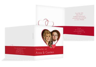 Hochzeit Dankeskarte Herzensband