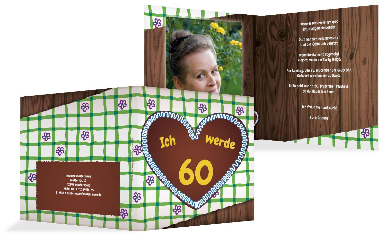Einladung Lebkuchenherz 60 Foto