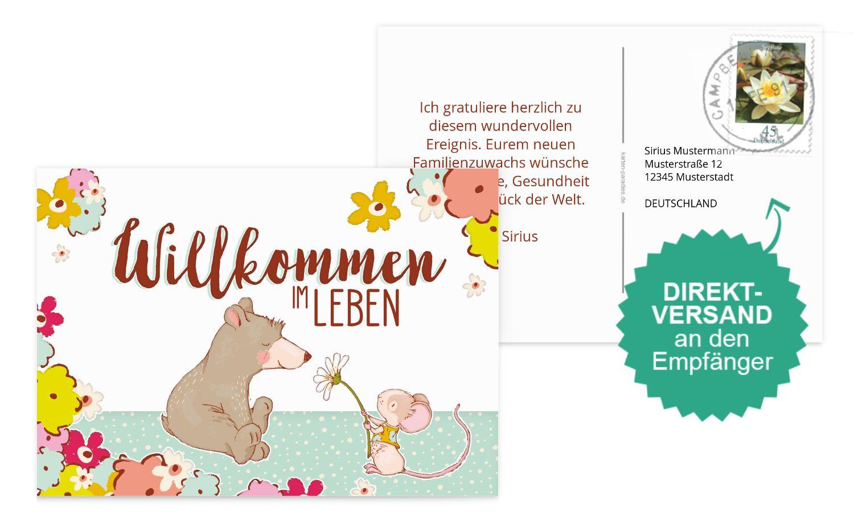 Glückwunschkarte zur Geburt Maus