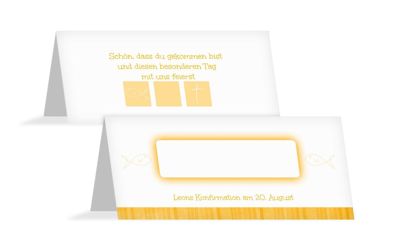 Tischkarte zur Konfirmation White