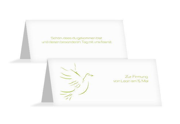 Tischkarte Firmung Pigeon