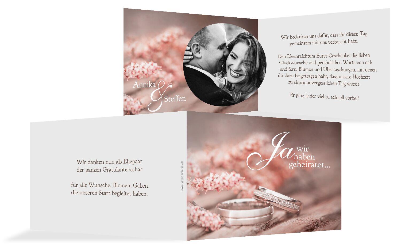 Hochzeit Dankeskarte Ringe