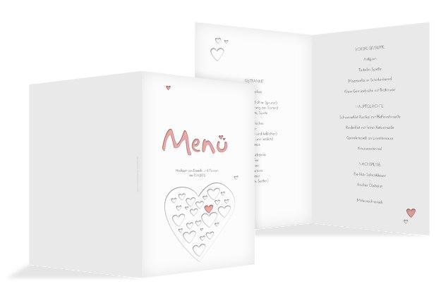 Hochzeit Menükarte Herzform