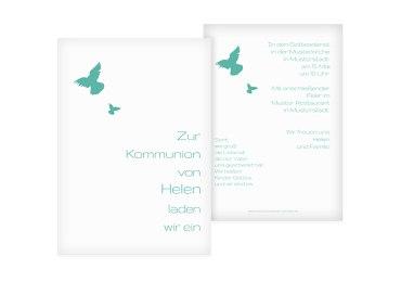 Kommunionskarte Taube