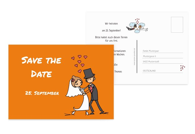 Hochzeit Save-the-Date Comic Brautpaar