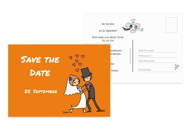 Hochzeit Save-the-Date Comic Brautpaar Orange 148x105mm