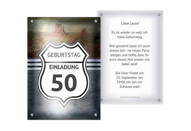 Geburtstagseinladung Route 50