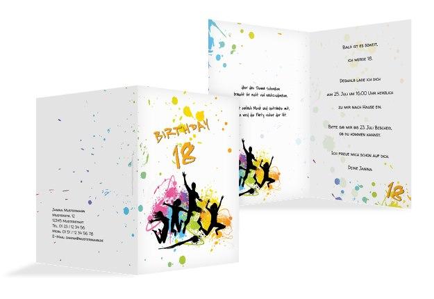 Karte 18. Geburtstag bunte Party 18