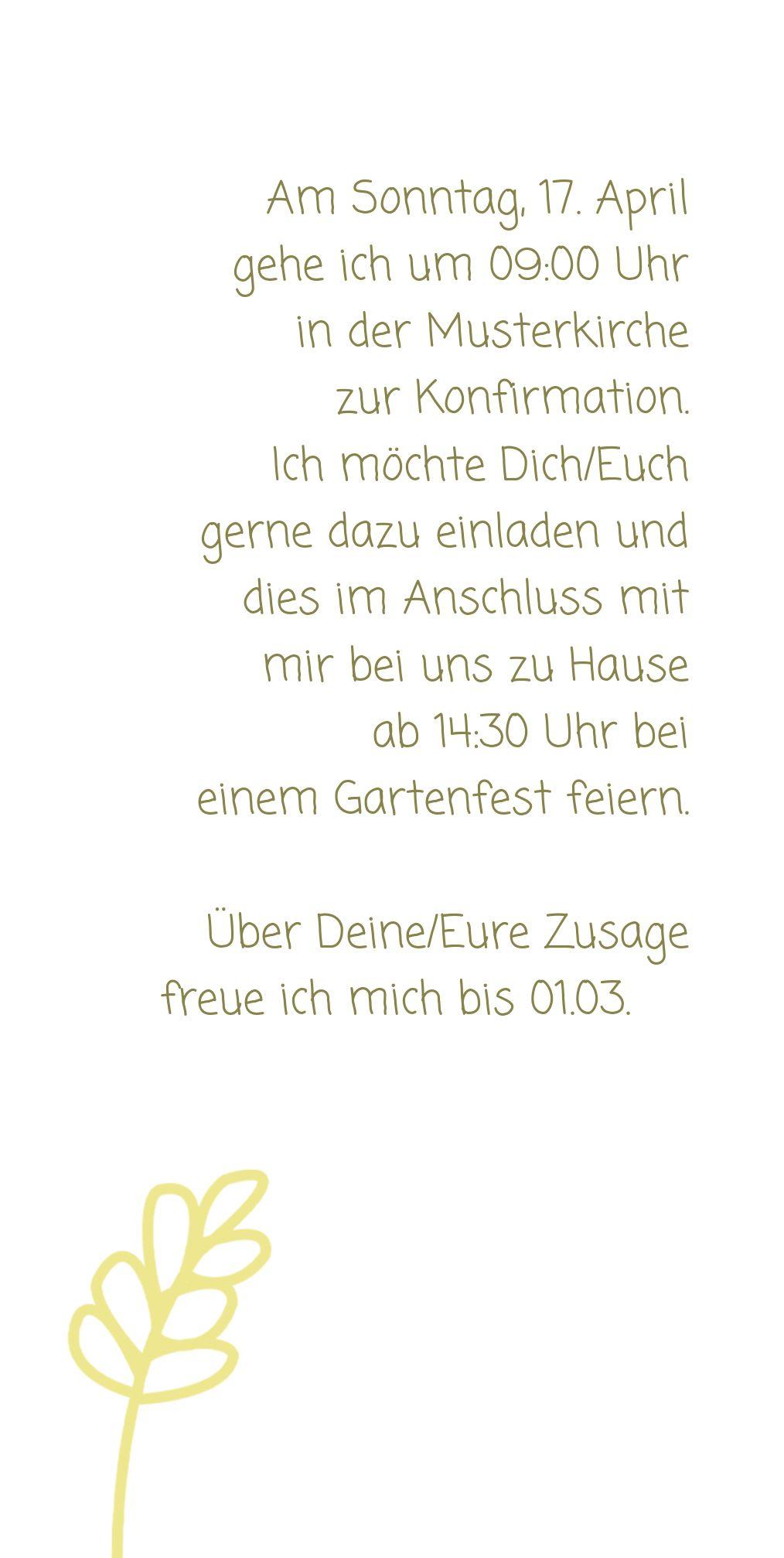 Ansicht 5 - Einladungskarte zur Konfirmation Gräser