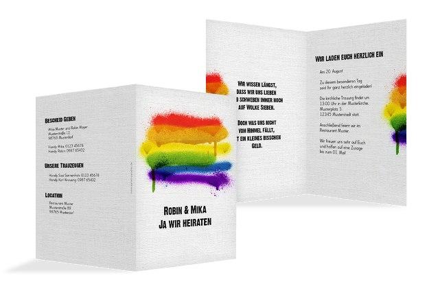 Hochzeit Einladung Regenbogenliebe