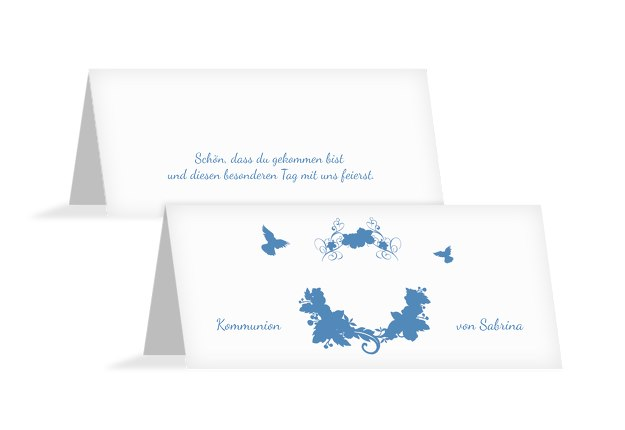 Tischkarte Kommunion Vogel