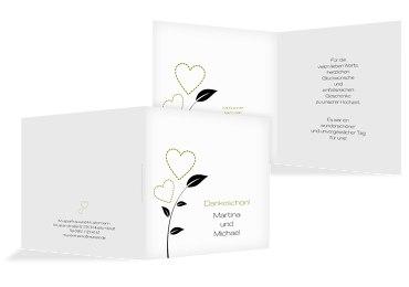 Hochzeit Dankeskarte Herzblume 2