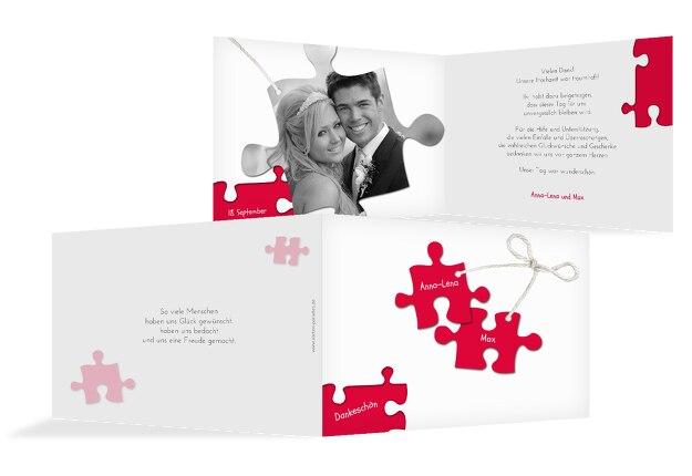Hochzeit Dankeskarte Puzzleteile
