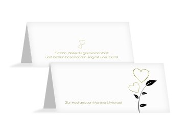 Hochzeit Tischkarte Herzblume