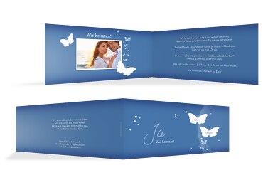 Hochzeit Einladungskarte Traumpaar KräftigHellMarineblau 215x105mm