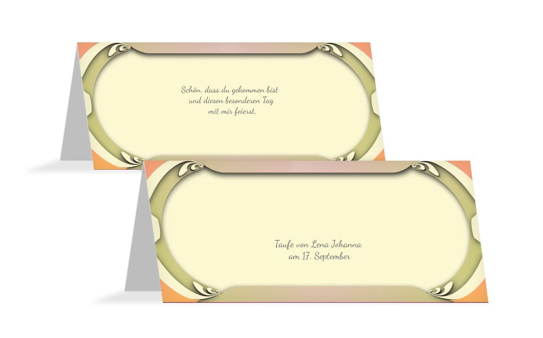 Taufe Tischkarte Long Frame