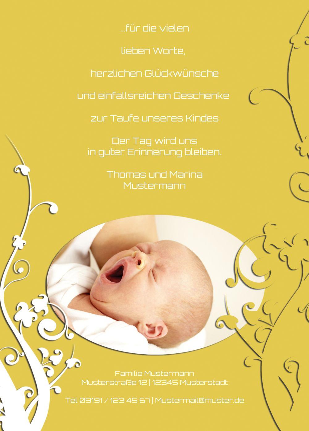 Ansicht 3 - Taufe Dankeskarte Florale Schnörkel