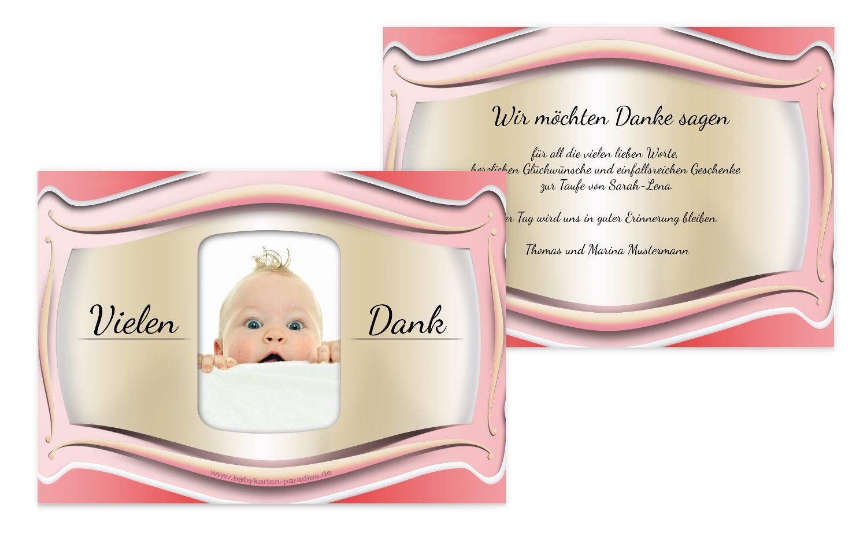 Taufe Dankeskarte Streifbogen