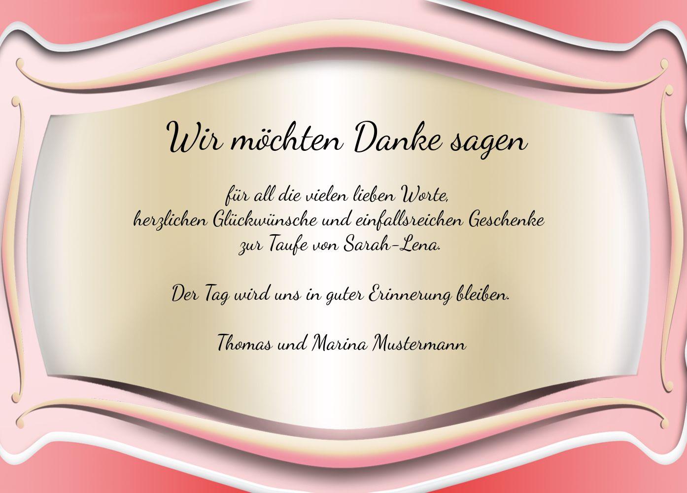 Ansicht 3 - Taufe Dankeskarte Streifbogen