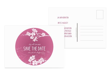 Save-the-Date Cherry Blossom Pinkrosa 148x105mm