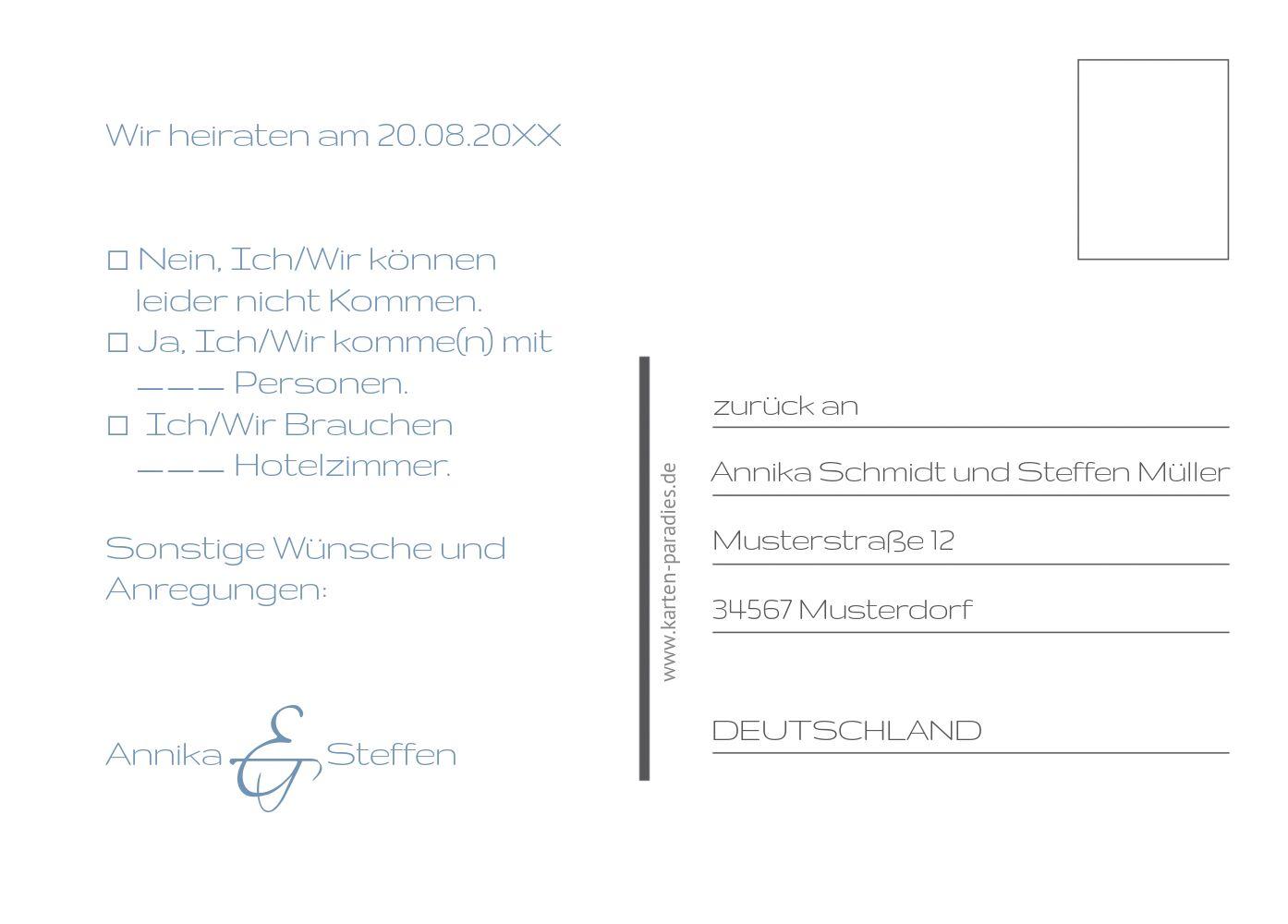 Ansicht 3 - Hochzeit Antwortkarte Sanft