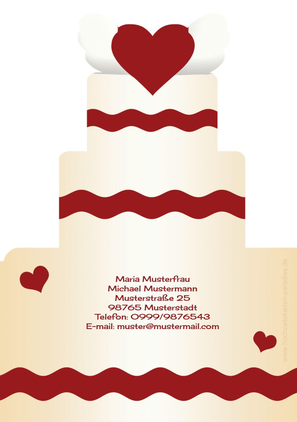 Ansicht 2 - Kontur Einladung Hochzeitstorte