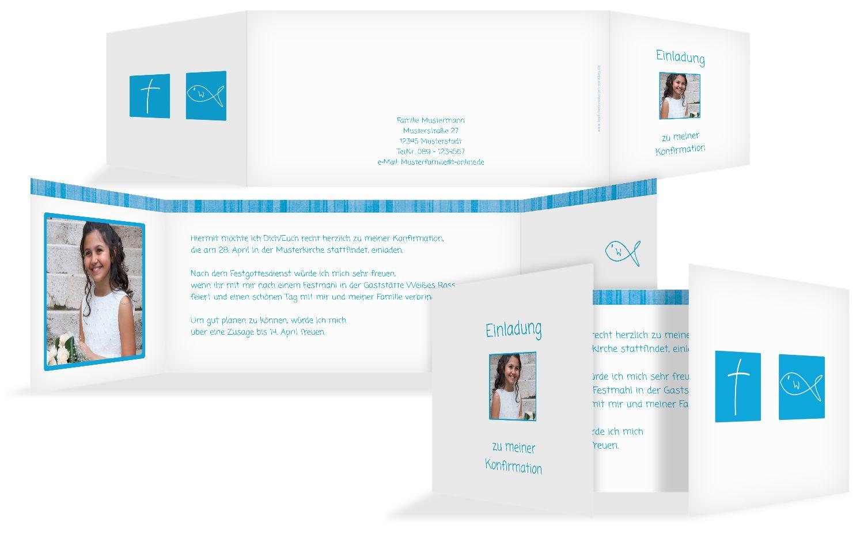 Einladungskarte zur Konfirmation White