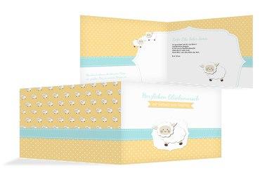 Glückwunschkarte zur Geburt Schäfchenherde
