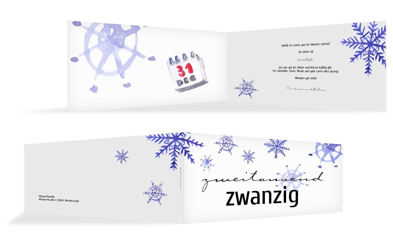 Neujahrskarte Schneeflocken