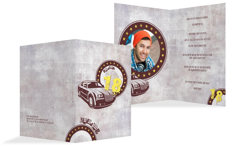 Einladung zum Geburtstag Car Star 18 Foto