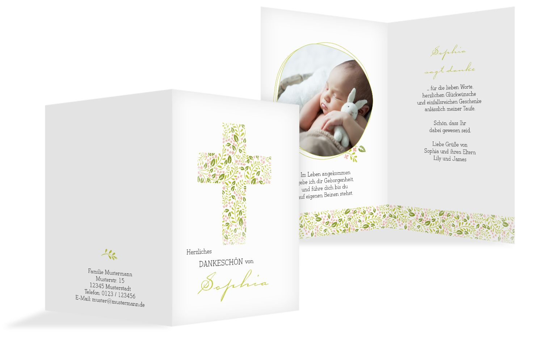 Taufe Dankeskarte Blumenkreuz