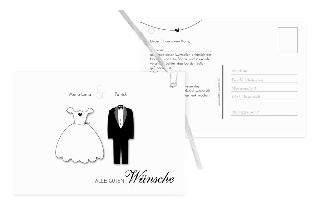 Hochzeit Ballonkarte dress and suit