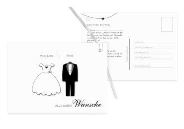 Hochzeit Ballonkarte dress and suit