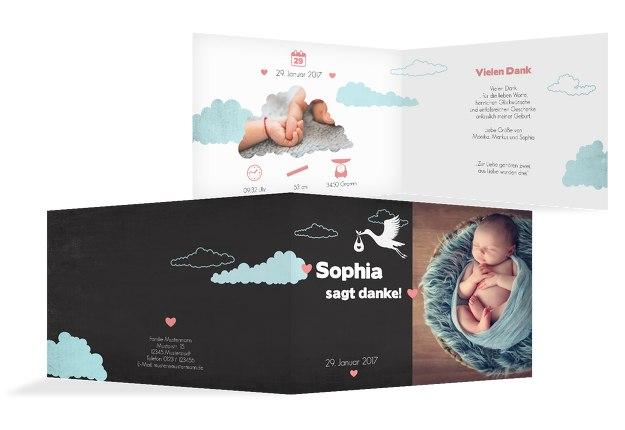 Baby Dankeskarte Klapperstorch