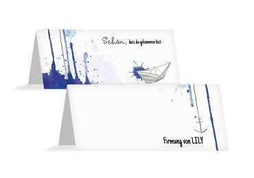Firmung Tischkarte Origamischiff