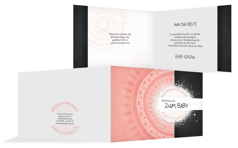 Glückwunschkarte zur Geburt Mandala