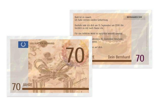 Geburtstagseinladung Geldschein 70