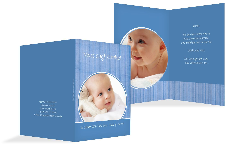 Baby Dankeskarte Streifentapete