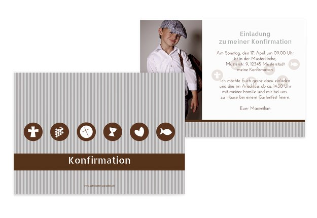 Konfirmation Einladung stripes-buttons