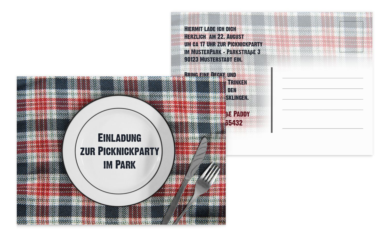 Einladung Sommerfest Picknickdecke