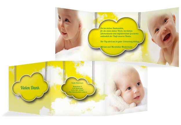 Taufe Dankeskarte Fluffy Cloud