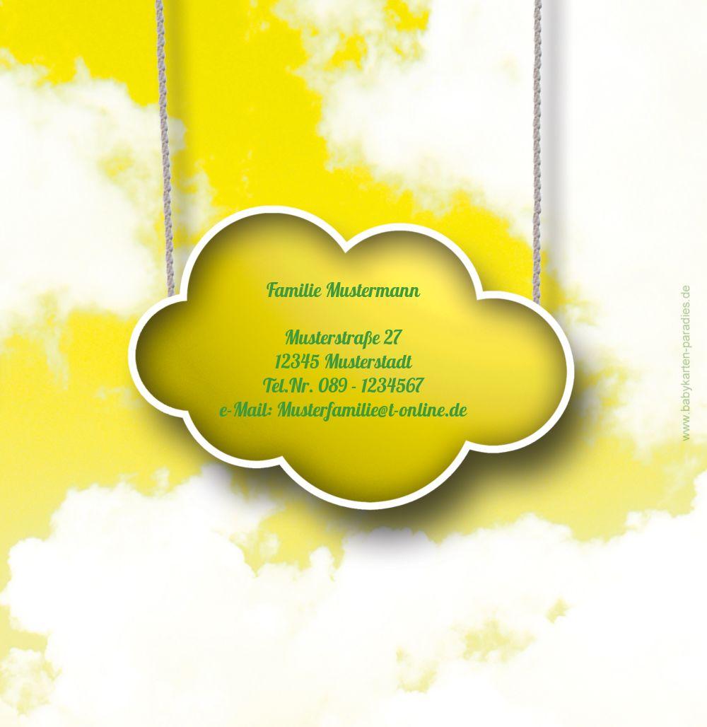 Ansicht 3 - Taufe Dankeskarte Fluffy Cloud
