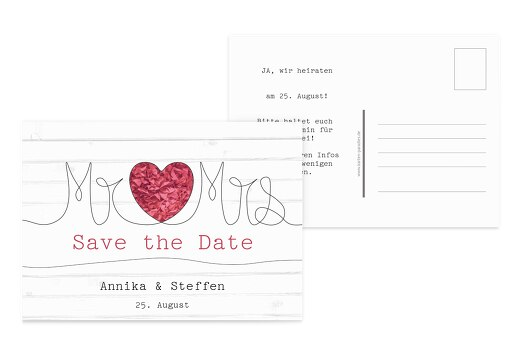 Save-the-Date Mr&Mrs PinkLeuchtend 148x105mm