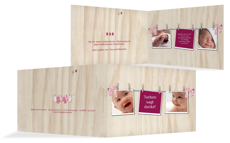 Baby Dankeskarte Schleife